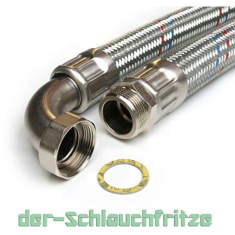 verzinkt 90° Bogen Panzerschlauch 3//4 Zoll Flexschlauch 50 cm