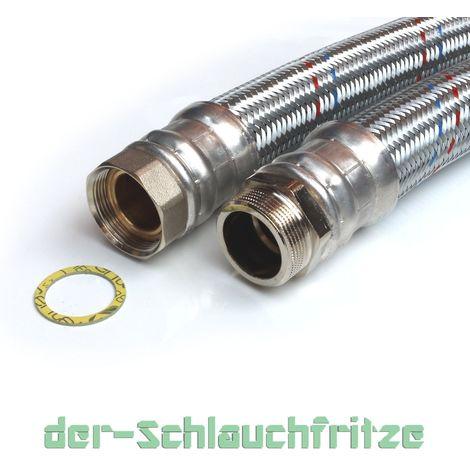 "Edelstahl Panzerschlauch 1/"" 80cm 800mm DN25 Flexschlauch Metallschlauch"