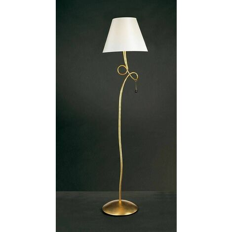 Paola 1 Light Bulb E27, gold painted with cream shade & amber glass droplets