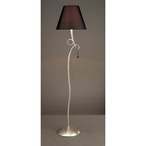 Paola 1 Light Bulb E27, silver painted with black lampshade & black glass droplets