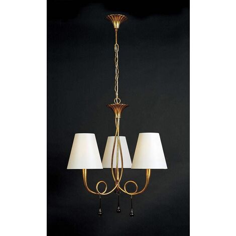 Paola pendant light 3 bulbs E14, gold painted with cream shade & amber glass droplets