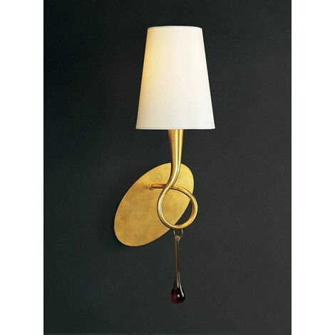 Paola wall light with switch 1 bulb E14, gold painted with cream shade & amber glass droplets