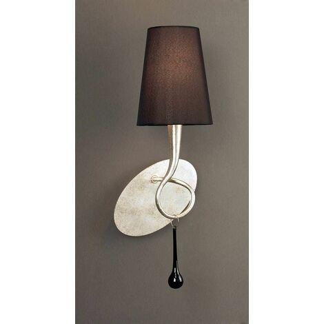 Paola wall light with switch 1 Bulb E14, silver painted with black lampshade & black glass droplets