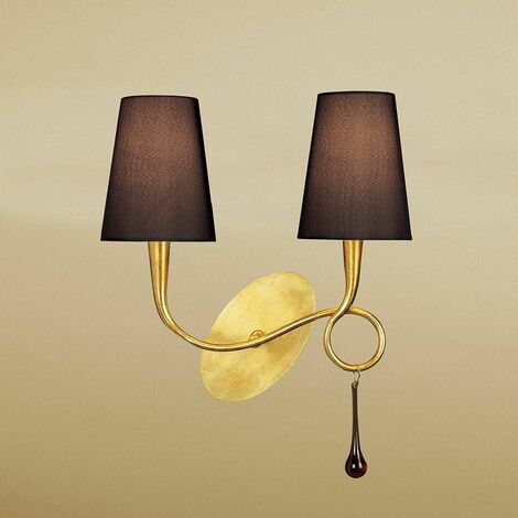 Paola wall light with switch 2 bulbs E14, painted gold with black lampshade & amber glass droplets