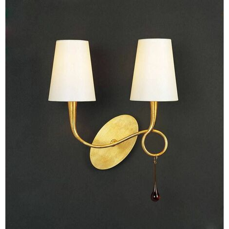 Paola wall light with switch 2 Bulbs E14, painted gold with cream shade & amber glass droplets