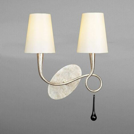Paola wall light with switch 2 bulbs E14, painted silver with cream shade & black glass droplets