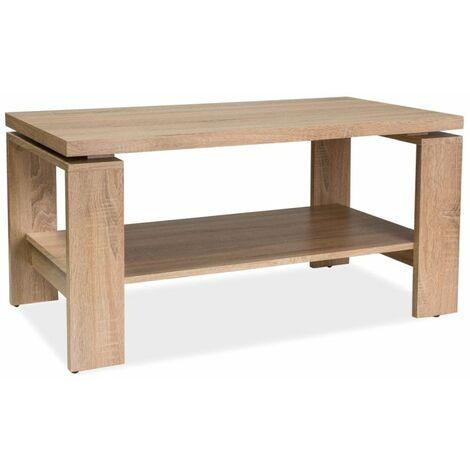 PAOMA   Table basse classique avec tablette   50x100x55 cm   Plateau et tablette en MDF laminé   Table à café - Sonoma