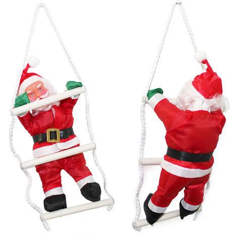 Papá Noel en la escalera - (32cm-25cm) Navidad decoración