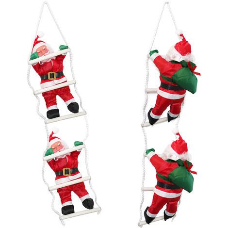 Papá Noel en la escalera - (65cm-25cm) - navidad decoración