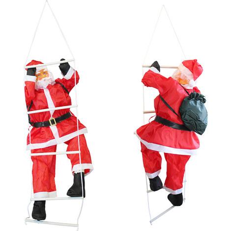 Papá Noel en la escalera - (90cm-60cm) decoración - Navidad
