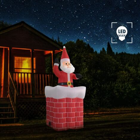 Papá Noel y chimenea inflables con movimiento y LED IP44 180cm
