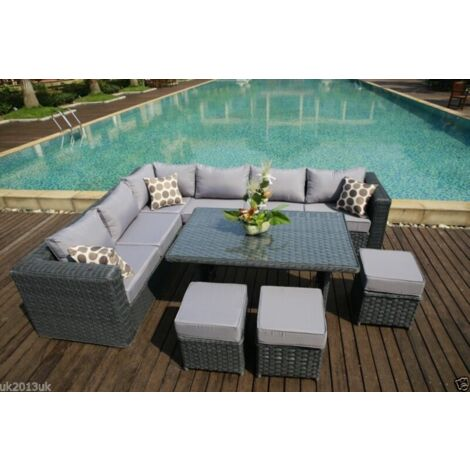PAPAVER RANGE 9 Seater PE Rattan Corner Grey Sofa & Dining Set Garden Furniture With Rain Cover