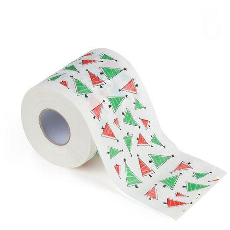 Papel de baño de navidad impreso casa santa claus baño rollos de papel higiénico suministros de papel tejido de decoración navideña 170 hojas de papel higiénico-D