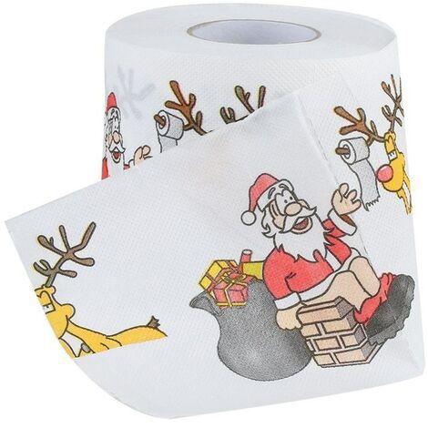 Papel de baño impreso navideño Hogar Papá Noel Baño Rollos de papel higiénico Suministros de papel Decoración navideña Tissue 170 Hojas de papel higiénico-B
