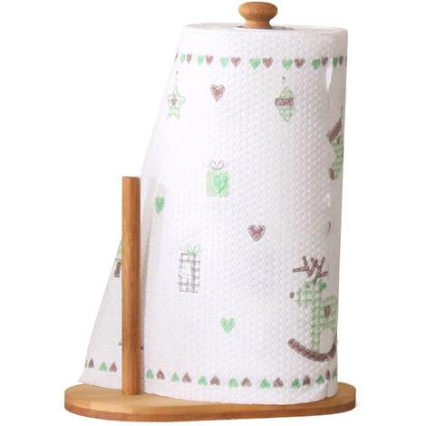 Papel de cocina sostenedor de la toalla de cocina del soporte del sostenedor del estante de la toalla de papel toalla de bambu vertical para el rollo de papel de cocina