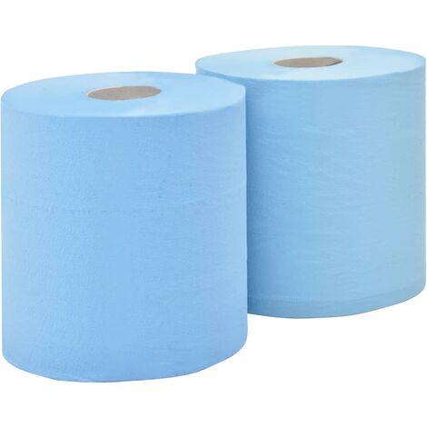 Papel de limpieza industrial 2 capas 2 rollos azul 20 cm