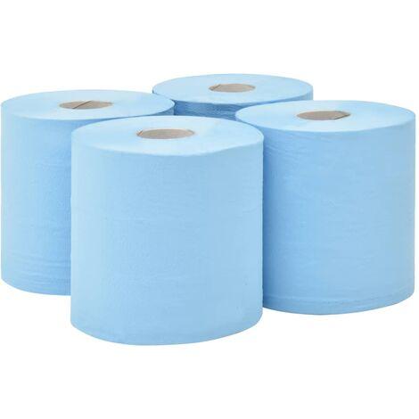 Papel de limpieza industrial 2 capas 4 rollos azul 20 cm