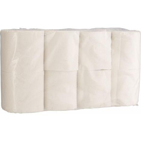 Papel higiénico blanco, 8 rodillos (por 8)
