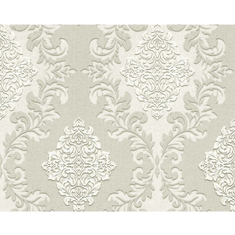Papel pintado barroco 3D EDEM 9123-20 papel pintado vinílico estampado en caliente con dorso textil gofrado con ornamentos efecto satinado gris blanco 10,65 m2