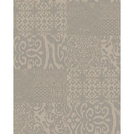 Papel pintado barroco Profhome VD219148-DI papel pintado vinílico estampado en caliente tejido non tejido gofrado al estilo collage brillante beige taupe 5,33 m2