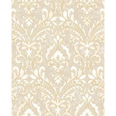 Papel pintado barroco Profhome VD219171-DI papel pintado vinílico estampado en caliente tejido non tejido gofrado con ornamentos efecto satinado beige marfil oro 5,33 m2