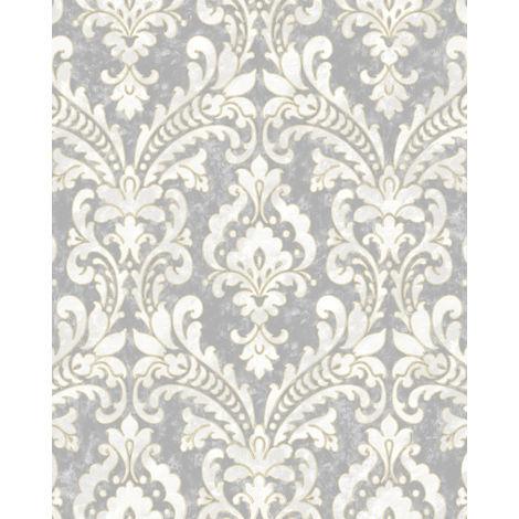 Papel pintado barroco Profhome VD219172-DI papel pintado vinílico estampado en caliente tejido non tejido gofrado con ornamentos efecto satinado plata gris blanco 5,33 m2