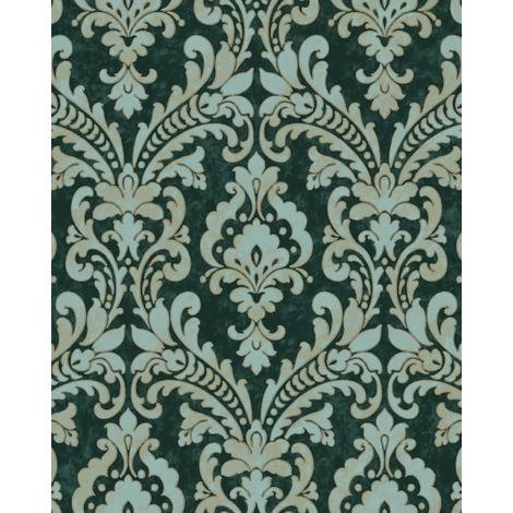 Papel pintado barroco Profhome VD219174-DI papel pintado vinílico estampado en caliente tejido non tejido gofrado con ornamentos efecto satinado verde turquesa-pastel marfil 5,33 m2