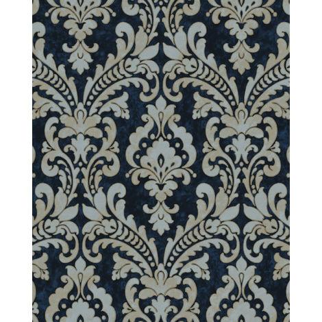 Papel pintado barroco Profhome VD219175-DI papel pintado vinílico estampado en caliente tejido non tejido gofrado con ornamentos efecto satinado azul oro gris claro 5,33 m2