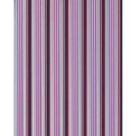 Papel pintado con diseño moderno de rayas EDEM 825-29 en morado oscuro violeta gris plata blanco 70 cm