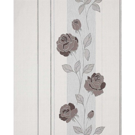 Papel pintado con patrón de flores rosas y rayas EDEM 766-30 en gris pálido crema marrón cacao plata