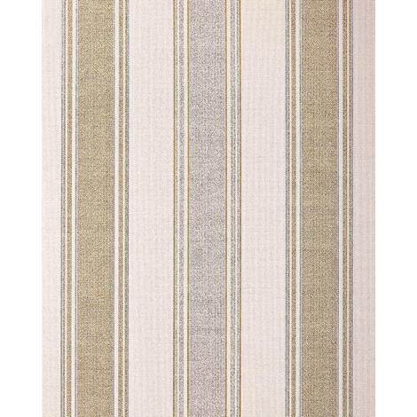 Papel pintado con rayas EDEM 508-20 papel pintado vinílico espumado texturado de aspecto textil y acentos metálicos crema marfil-claro oro perlado plata 5,33 m2