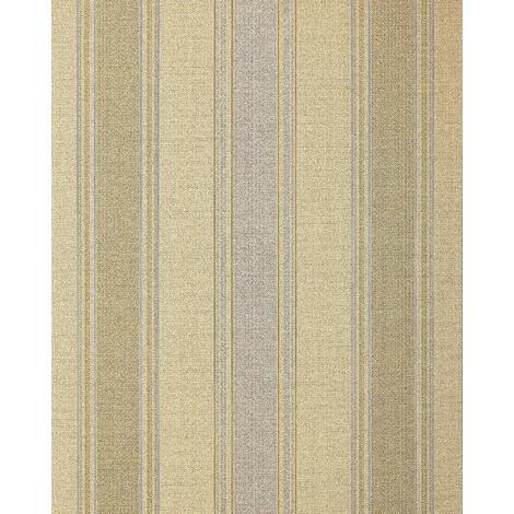 Papel pintado con rayas EDEM 508-21 papel pintado vinílico espumado texturado de aspecto textil y acentos metálicos beige amarillo-azafrán oro perlado plata 5,33 m2