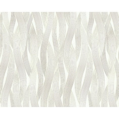Papel pintado con rayas EDEM 81130BR20 Papel pintado no tejido texturado tono sobre tono y acentos metálicos crema blanco plata 10,65 m2