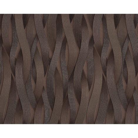 Papel pintado con rayas EDEM 81130BR26 Papel pintado no tejido texturado tono sobre tono y acentos metálicos marrón bronce plata 10,65 m2