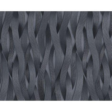 Papel pintado con rayas EDEM 81130BR29 Papel pintado no tejido texturado tono sobre tono y acentos metálicos platino plata antracita gris 10,65 m2