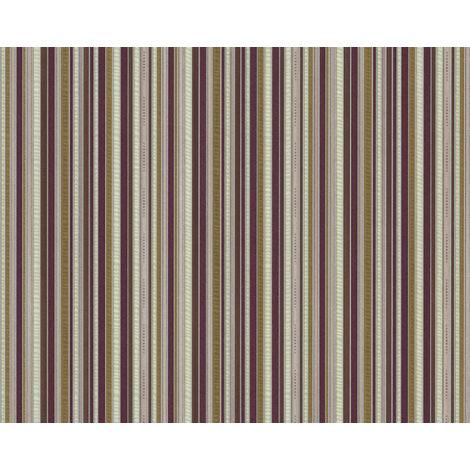 Papel pintado con rayas EDEM 81161BR35 papel pintado vinílico estampado en caliente tejido non tejido gofrado con textura perceptible y acentos metálicos violeta marrón bronce plata 10,65 m2
