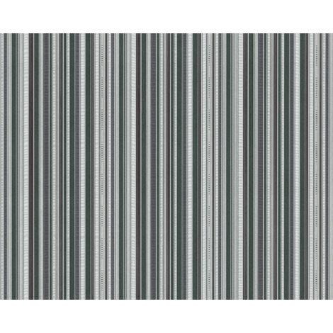 Papel pintado con rayas EDEM 81161BR38 papel pintado vinílico estampado en caliente tejido non tejido gofrado con textura perceptible y acentos metálicos verde antracita gris plata 10,65 m2