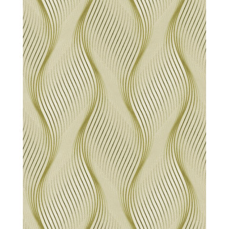Papel pintado con rayas EDEM 85030BR35 papel pintado vinílico ligeramente texturado con lineas onduladas y acentos metálicos verde amarillo-oliva blanco plata 5,33 m2