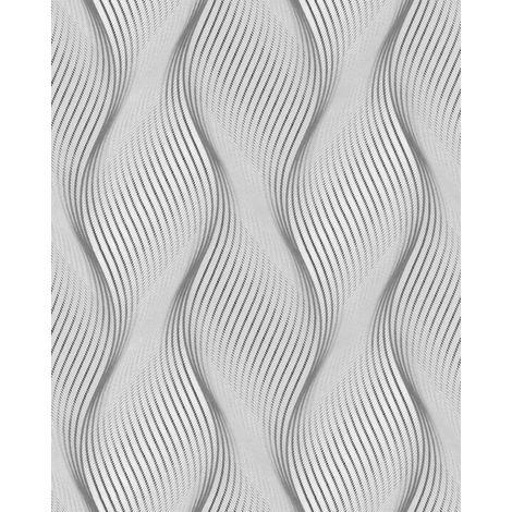 Papel pintado con rayas EDEM 85030BR36 papel pintado vinílico ligeramente texturado con lineas onduladas y acentos metálicos gris gris-luminoso blanco plata 5,33 m2