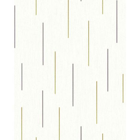 Papel pintado con rayas EDEM 85043BR20 papel pintado vinílico ligeramente texturado con dibujo gráfico y acentos metálicos crema blanco-perla oro plata 5,33 m2