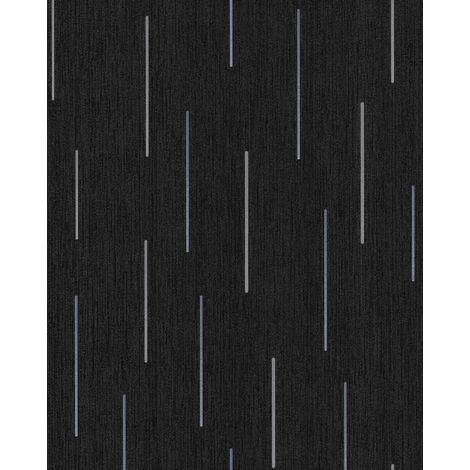Papel pintado con rayas EDEM 85043BR26 papel pintado vinílico ligeramente texturado con dibujo gráfico y acentos metálicos antracita gris-negruzco azul violeta plata 5,33 m2