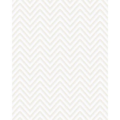 Papel pintado con rayas Profhome BA220091-DI papel pintado vinílico estampado en caliente tejido non tejido gofrado con rayas y acentos metálicos blanco plata 5,33 m2
