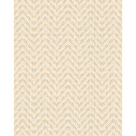 Papel pintado con rayas Profhome BA220092-DI papel pintado vinílico estampado en caliente tejido non tejido gofrado con rayas y acentos metálicos marfil oro 5,33 m2