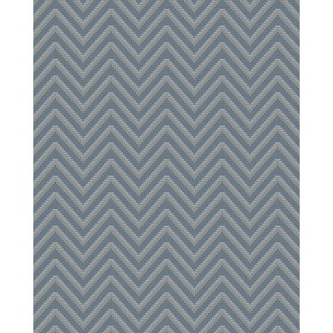 Papel pintado con rayas Profhome BA220094-DI papel pintado vinílico estampado en caliente tejido non tejido gofrado con rayas y acentos metálicos azul azul-colombino plata 5,33 m2