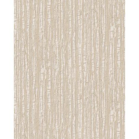 Papel pintado con rayas Profhome DE120081-DI papel pintado vinílico estampado en caliente tejido non tejido gofrado tono sobre tono brillante marfil blanco 5,33 m2