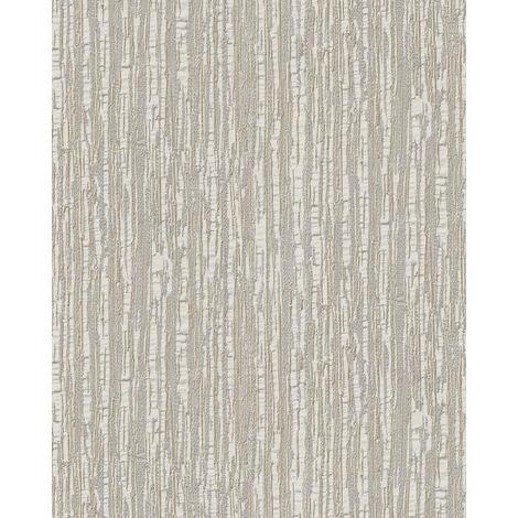 Papel pintado con rayas Profhome DE120082-DI papel pintado vinílico estampado en caliente tejido non tejido gofrado tono sobre tono brillante crema blanco 5,33 m2