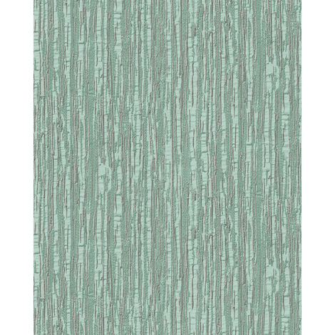 Papel pintado con rayas Profhome DE120084-DI papel pintado vinílico estampado en caliente tejido non tejido gofrado tono sobre tono brillante turquesa menta plata 5,33 m2