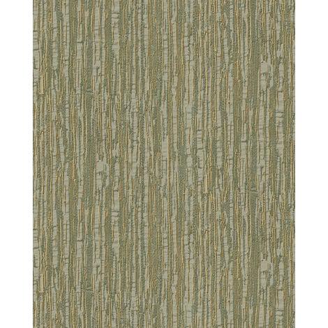 Papel pintado con rayas Profhome DE120085-DI papel pintado vinílico estampado en caliente tejido non tejido gofrado tono sobre tono brillante verde verde-oliva oro 5,33 m2