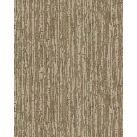 Papel pintado con rayas Profhome DE120086-DI papel pintado vinílico estampado en caliente tejido non tejido gofrado tono sobre tono brillante marrón oro 5,33 m2