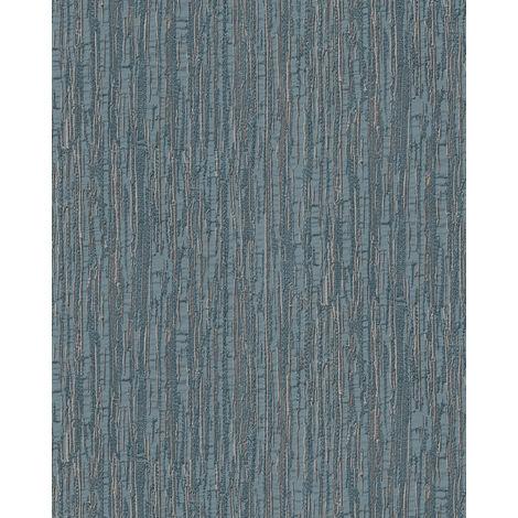 Papel pintado con rayas Profhome DE120087-DI papel pintado vinílico estampado en caliente tejido non tejido gofrado tono sobre tono brillante azul plata 5,33 m2
